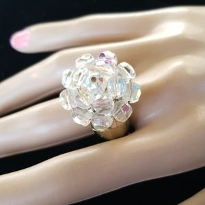 Vintage Repurposed Crystal Cluster Statement Ring